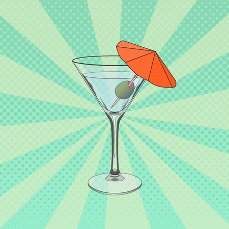 Raster illustration of glass of Martini in pop art style. Pop art dotted halftone background.