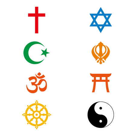 Vector illustration world religious signs and symbols collection in colour icon design
