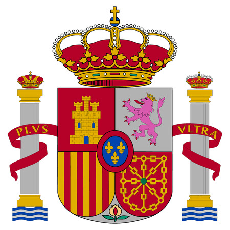 Spain coat of arms, official colors and proportion correctly. National Spain coat of arms. Raster illustration Фото со стока