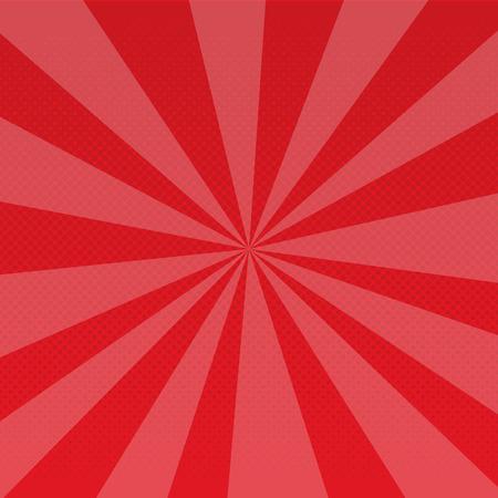 팝 아트 복고 광선 만화 그라데이션 하프 톤 점선 된 배경. 빨간. 래스터 그림