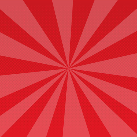 Pop art retro rays comic gradient halftone dotted background. Red. Raster illustration