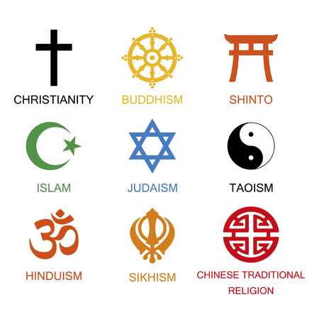 Raster illustration. World religious signs and symbols collection in colour with inscriptions