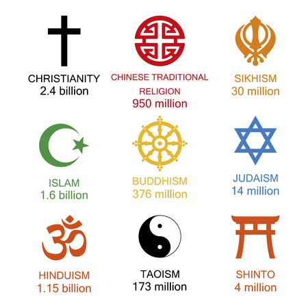 Raster illustration. World religious signs and symbols collection in colour with inscriptions and statistics of amoung number of adherents of religion