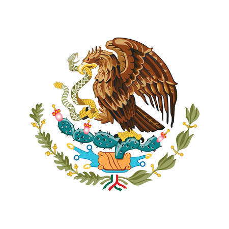 Mexico coat of arms, official colors and proportion correctly. National Mexico coat of arms. Raster illustration