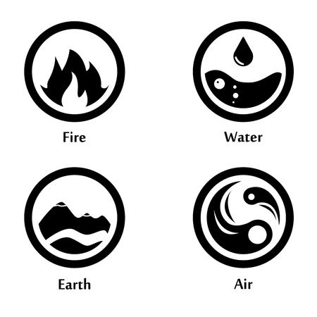 4 つの要素のベクトル図は円形アイコンのロゴのテンプレートです。風、火、水、地球のシンボル。絵文字。