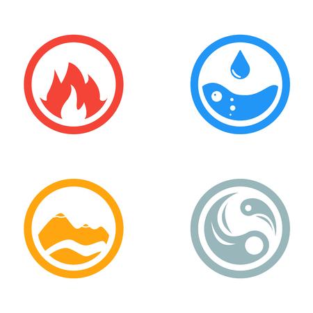 ベクトル アイコン シンボル ラウンドの 4 つの要素のアイコンのイラスト。 テンプレートです。風、火、水、地球のシンボル。絵文字。