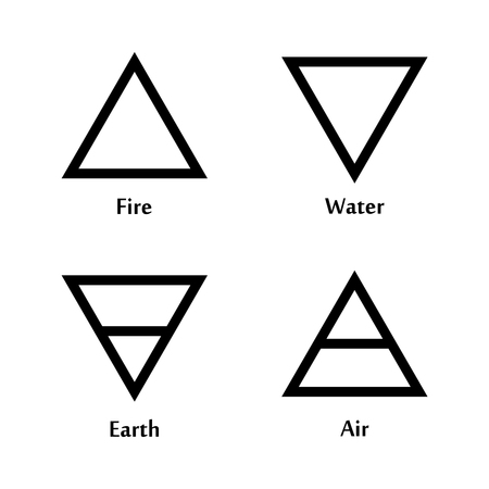 黒い線の三角形のアイコンのロゴのテンプレートを 4 つの要素のベクトル イラスト。風、火、水、地球のシンボル。絵文字。