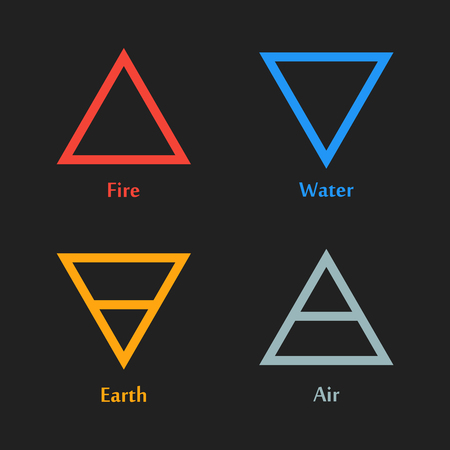Colorful Vector Illustration Of Four Elements Icon In Triangle