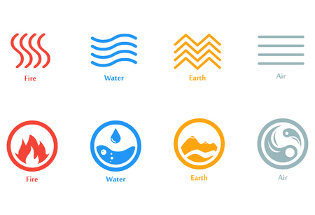 A Vector illustration of four elements icons, line and round  set. Logo template. Wind, fire, water, earth symbol. Pictograph.