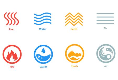 Una ilustración vectorial de cuatro elementos iconos, línea y conjunto de ronda. Plantilla de logotipo. Viento, fuego, agua, símbolo de la tierra. Pictografía.