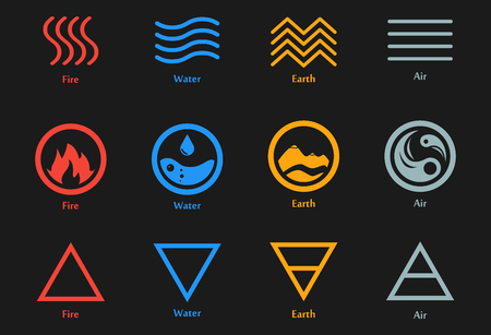 Vector Illustration Of Four Elements Icons Line Triangle And