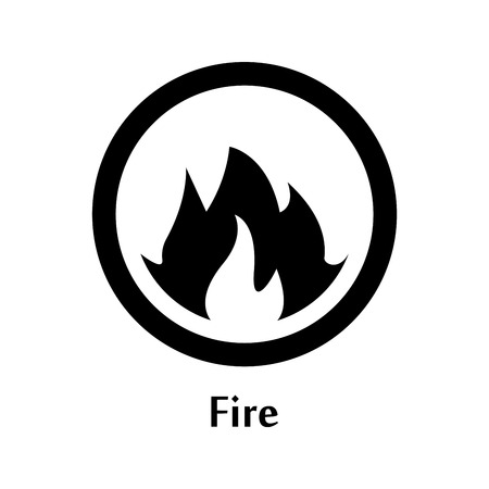 A Vector illustration of fire element icon, line round symbols. Logo template. Flame symbol. Pictograph.