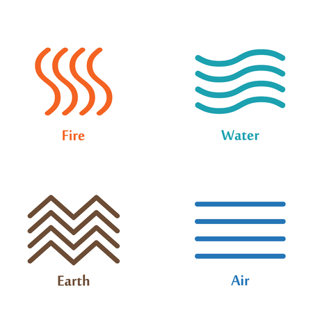 A Vector illustration of four elements icons, line symbols. Logo template. Wind, fire, water, earth symbol. Pictograph.