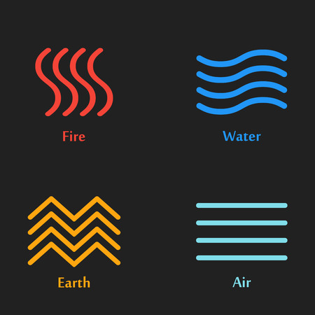 Raster Illustration Of Four Elements Icons Line Symbols Logo