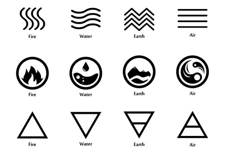 Raster illustration of four elements icons, line, triangle and round symbols set. Logo template. Wind, fire, water, earth symbol. Pictograph.