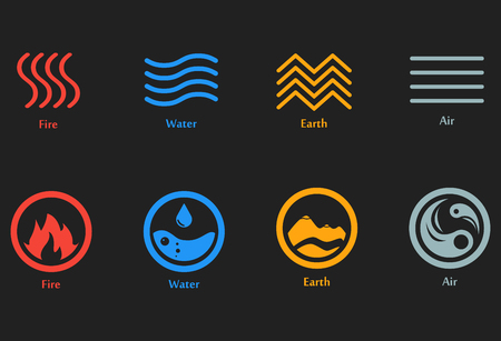 Raster Illustration Four Elements Icons Line Symbols Air Stock