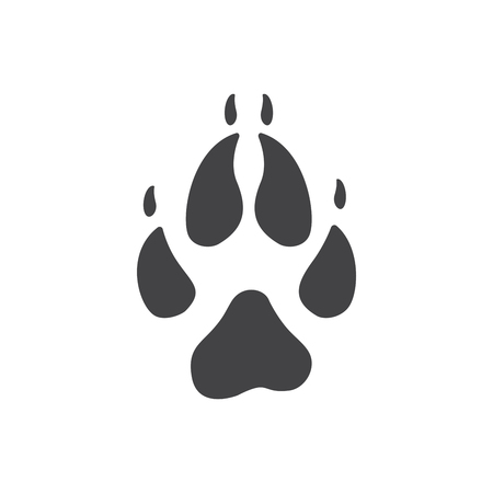 Vector illustration. Fox Paw Prints icon. Black on White background. Animal paw print with claws. Illustration