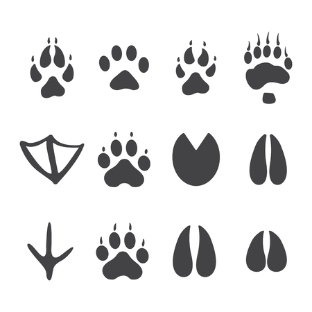 Vector illustration. Set of animal and bird Paw Foot Prints icon. Black on White background. Animal paw print with claws.