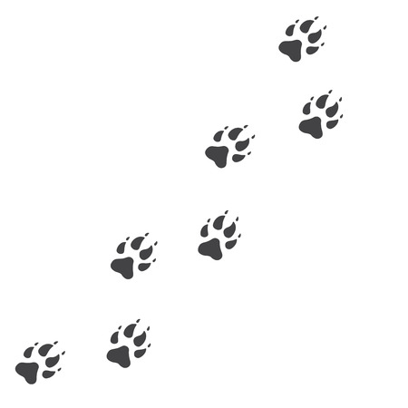 Vector illustration. Wolf Paw Prints Track icon. Black on White background. Animal paw print with claws. Vettoriali