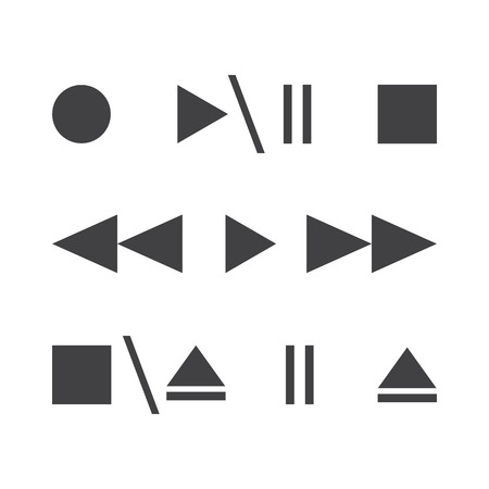 Vector illustration. Media player buttons icons. Control buttons. Play, pause, stop, record, eject, forward, back