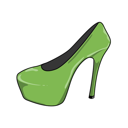 Vector illustration of  female shoes with high heels. Green shoes