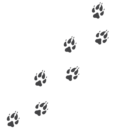 Vector illustration. Fox paw prints track icon. Black on white background. Animal paw print with claws.