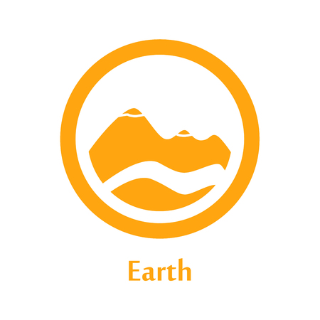 Raster Illustration Of Earth Element Icon Line Round Symbols