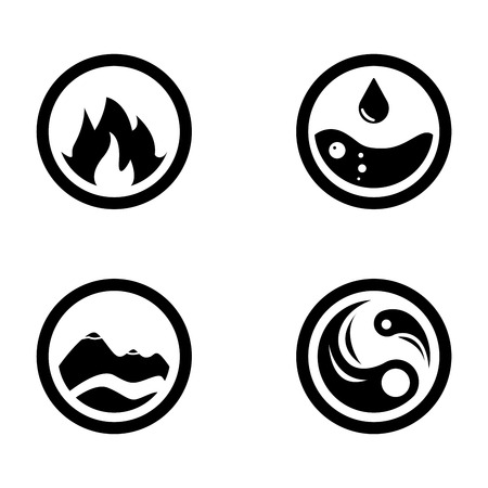 Raster illustration of four elements icons, round icons symbols. Logo template. Wind, fire, water, earth symbol. Pictograph. Фото со стока