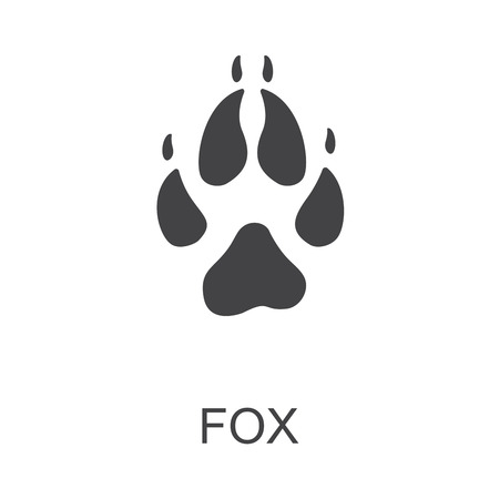Vector illustration. Fox Paw Prints Logo. Black on White background. Animal paw print with claws.