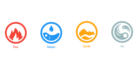 Raster illustration of four elements icons, round icons symbols. Logo template. Wind, fire, water, earth symbol. Pictograph. Stock Photo