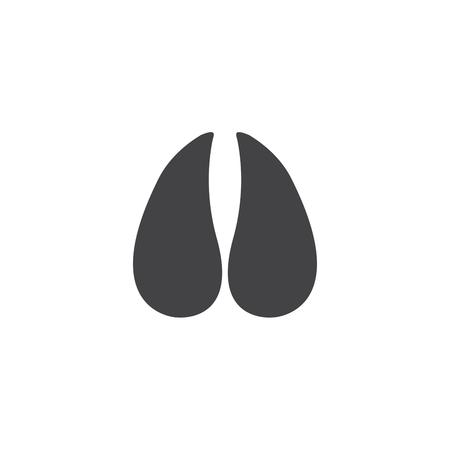 Illustrazione vettoriale. La zampa dello zoccolo della mucca stampa il logo. Nero su sfondo bianco. Zampa di zoccolo animale stampa