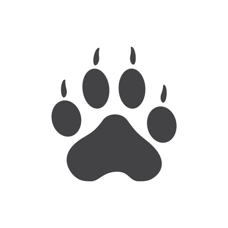 Raster illustration. Tiger Paw Prints Logo. Black on White background. Animal paw print with claws. Stock Photo