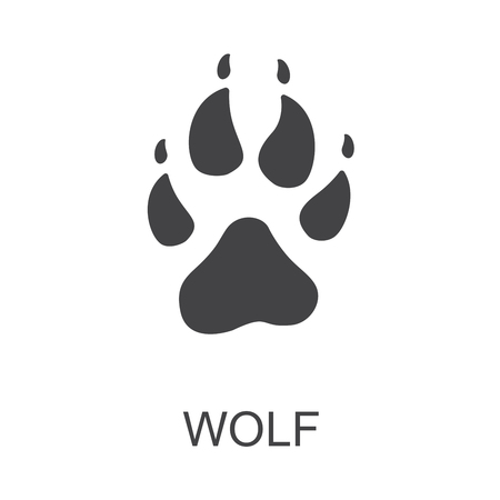 Raster illustration. Wolf Paw Prints Logo. Black on White background. Animal paw print with claws.