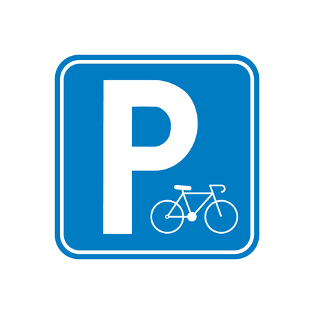 Raster illustration. Parking bicycle area sign icon. Parking road sign