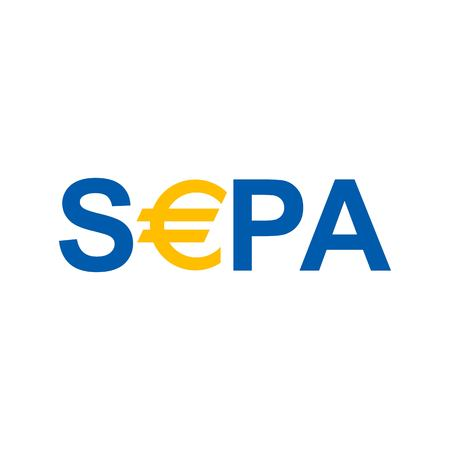 Raster illustration. SEPA - Single Euro Payments Area sign on white background.