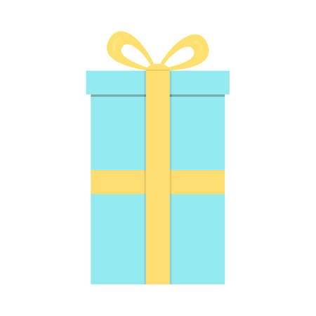 Closed gift box, surprise concept. Blue square gift box with yellow ribbon and bow isolated on background. Raster illustration