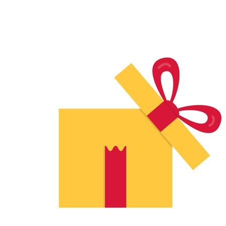 A Vector illustration. Opened gift box, surprise concept. Yellow square gift box with red ribbon and bow isolated on background.