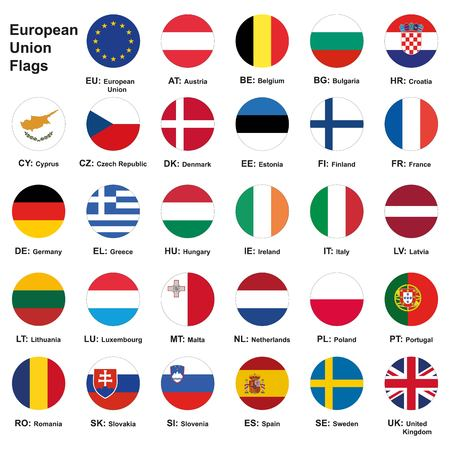 Raster illustration. Set of european union flags with names and Country Abbreviations. European Union country flags,member states EU. 29 flags+ eu flag.