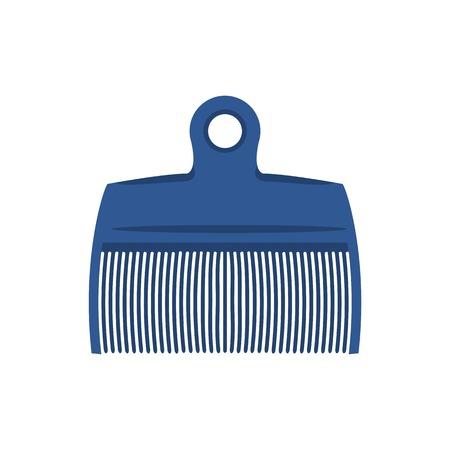 Raster illustration. Silhouette comb , retro barber comb, blue plastic comb Stock Photo