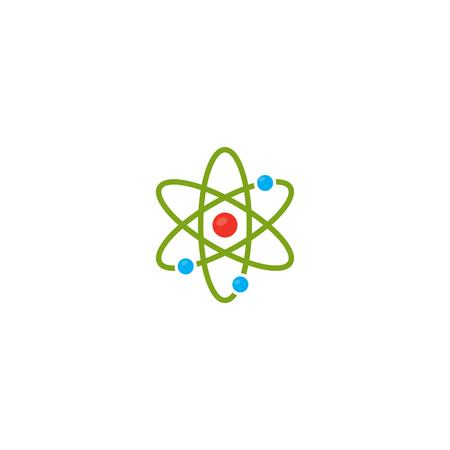 Vector illustration. Atom icon. Proton and electron and orbits. Colour icon. Science icon.