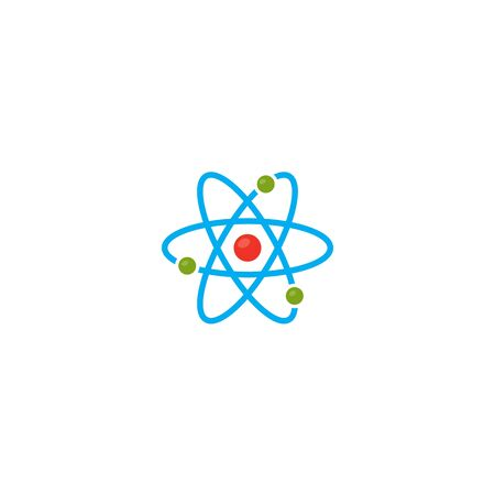 Vector illustration. Atom icon. Proton and Electron and Orbits. Color icon. Science icon.