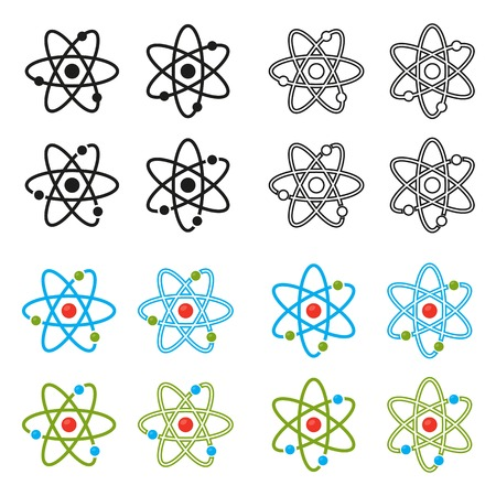 Vector illustration. Atom icons set. Proton and electron and orbits. Colour and black outline icons set. Science icon.