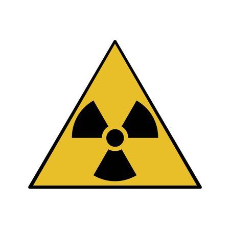 Vector illustration. Radioactive hazard. Triangle sign of radioactivity. Safe sign. Illustration