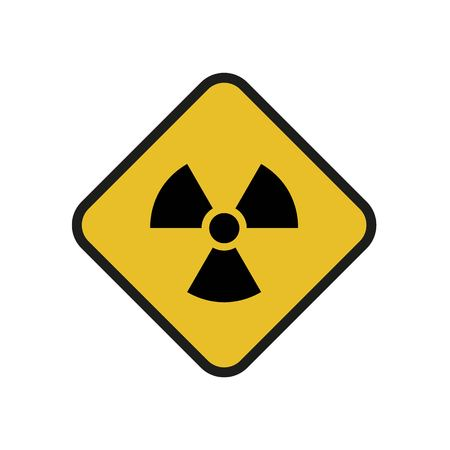 Raster illustration. Radioactive hazard. Square sign of radioactivity. Safe sign.