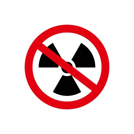 Vector illustration. Prohibition of radiation. No Radiation icon on white background. No nuclear radiation prohibition sign icon