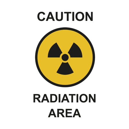 Raster illustration. Radiation area symbol sign of biological threat alert. Radioactive sign isolated on white