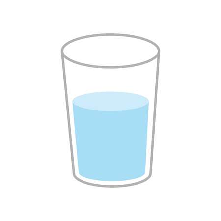 Vector illustration. Glass of mineral water icon. Plastic cup of water. Flat design