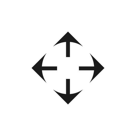 Vector illustration. Direction move icon. Up, down, left, right, North, south, east, west. Drag and drop. Arrow pointing in all directions Illustration