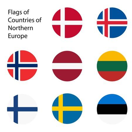 Vector illustration. Set of flags of Northern Europe countries. Estonia, Norway, Latvia, Lithuania, Iceland, Finland, Sweden, Denmark. Vektoros illusztráció