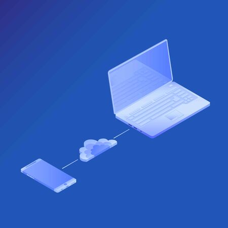 Vector illustration. Concept cloud connection smartphone and laptop. Concepts Cloud storage. Header for website with Computer, laptop on blue background. Design for Landing Page. 3d isometric Ilustrace